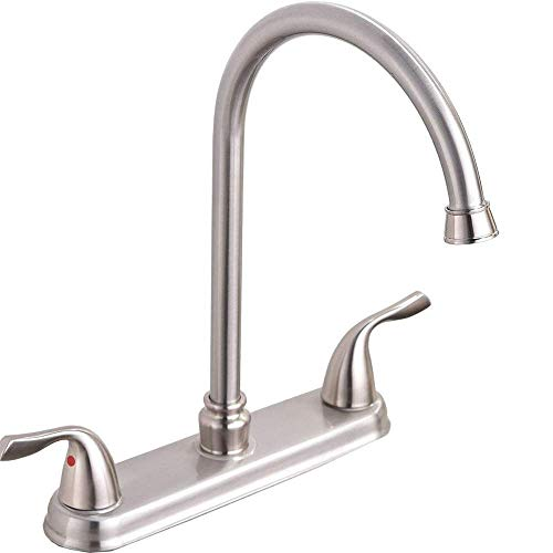 Discover Bargain Hotis Commercial Stainless Steel Lead-Free Two Lever Two Hole Gooseneck High Arc Tw...