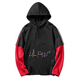 Lil Peep Pullover Sudadera 2 en 1 Sudadera Deportiva Casual Sudaderas con Capucha Sudaderas con Manga Larga Impresas Unisex (Color : Black04, Size : XL)