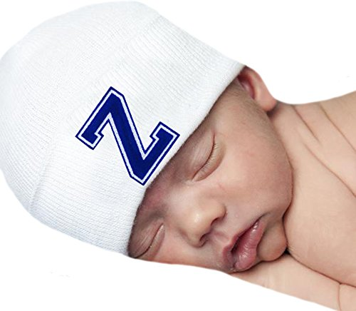 - Melondipity Baby Hat First Initial Royal Blue Flocked Letter White Hospital Hat (Z)