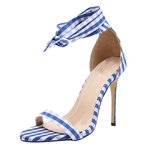 - VICCKI Summer Sexy Women's Roman Lace-up Sturdy High Heel Shoes Pointed Toe Sandals Blue