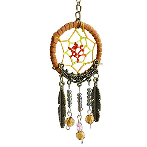 Mascot Costume Maker (2Pcs Unique Key Chain Ring Feather Bead Mini Dream Catcher Keyring Keychain Mascot Hanging Decorations)