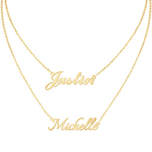 Custom4U Personalized Name Necklace Custom Made Pendant Jewelry Gift for Women (Layered Necklace with 2 Names)