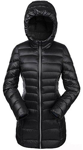 Valuker Damen Daunenmantel 90% Daunen Mantel Mit Kapuze Parka Winter Jacke Lang Ultra leicht NVCDM33(Gr 34 / S Schwarz)