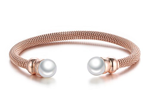 less Steel Twisted Cable Bangle Bracelet with Synthetic White Pearl , Rose Gold (White Gold Cable Bracelet)
