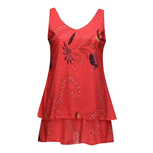 - NCCIYAZ Womens Camisole Flower Print Layred Sleeveless Tunic Top Plus Size Ladies Slouch Loose Mini Dress Oversized(4XL(12),Orange Red)