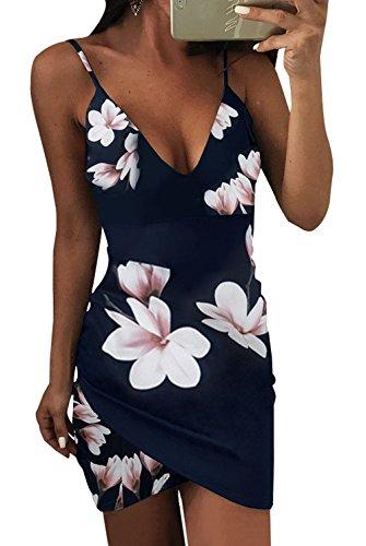 Scollo OUFour Abito Stampa Estivo Blu Up a Tubino Navy da Vestiti Irregolare V Mini Festa Donna da Partito Cocktail Senza Sexy Pin Vestito Schienale OrFxfOq8w