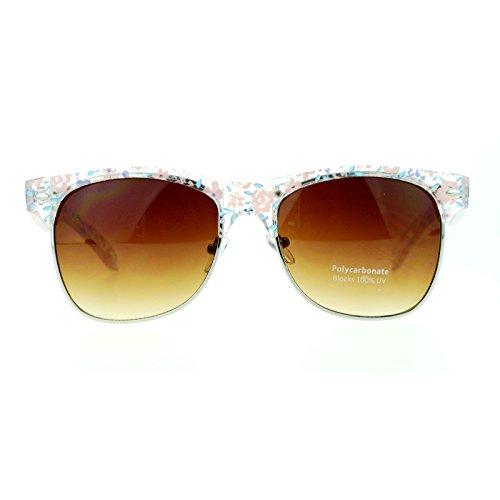 Clear Flower Pattern Half Rim horned Horn Rimmed Clubmaster - Sunglasses Half Wayfarer Rim