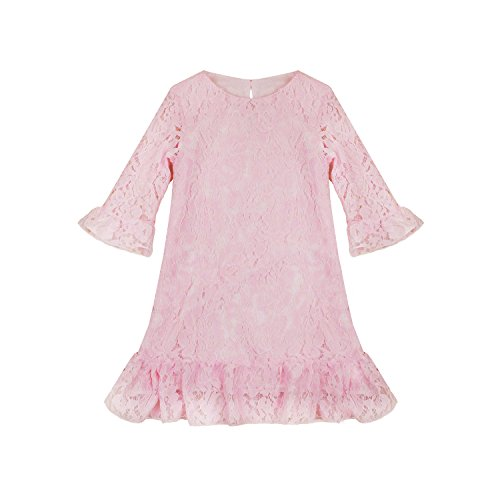 Abbyabbie.Li Girl Dress Lace Toddler Flounce Flower Girls Dresses With Sleeves (14, - Dress Flounce Lace