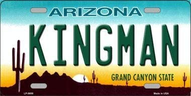 With Sticky Notes Kingman Arizona Background Metal Novelty License Plate