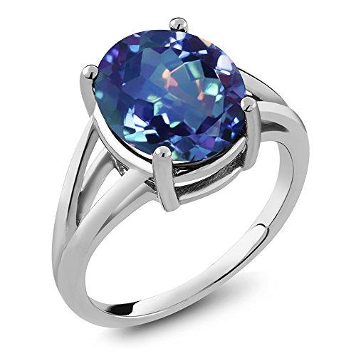 4.00 Ct Oval Millennium Blue Mystic Quartz 925 Sterling Silver Ring (Ring Size 7) - Blue Quartz Ring
