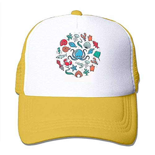 (Hhaj Chapter Fish and Shrimp Washing can Adjust The Cap Style for Adult Yellow)