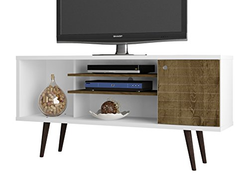 Box Gloss High Storage (Manhattan Comfort Liberty Collection Mid Century Modern TV Stand With One Cabinet and Three Open Shelves and One Cubby With Splayed Legs, White/Wood)