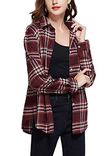 (GUANYY Women's Long Sleeve Casual Loose Classic Plaid Button Down Shirt(Classic Red and Black,XX-Large))