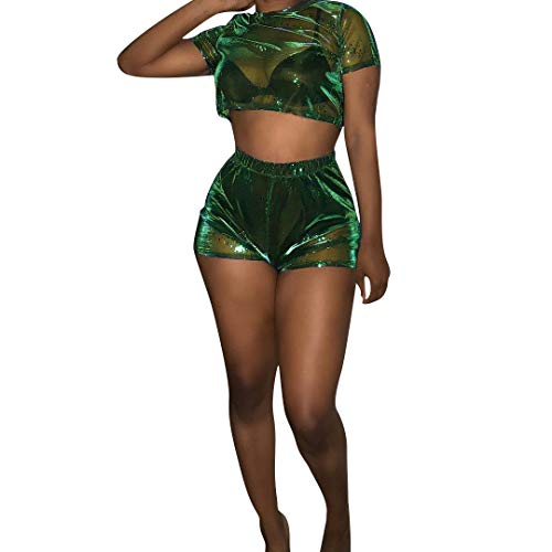 (ECHOINE Womens Mesh Top See Through Two Pieces Outfit Set Cropped Holographic Short Sleeve Short Pants Jumpsuit Cocktail Green )