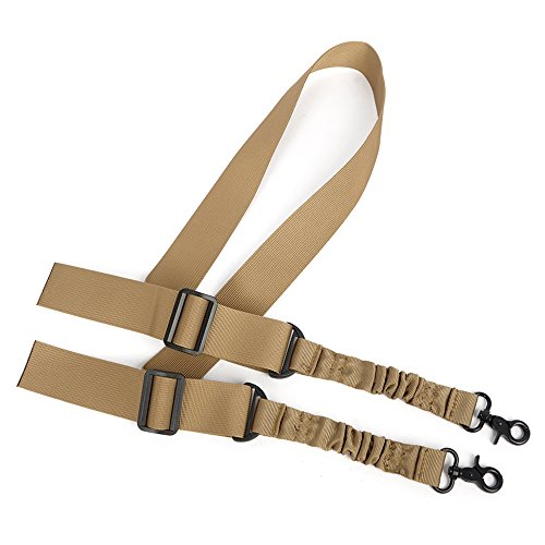 (D&Z 2 Point Rifle Sling,Adjustable Gun Shoulder Strap with Elastic Bungee Cord for Hunting Shooting or other Outdoor Sports(Khaki))