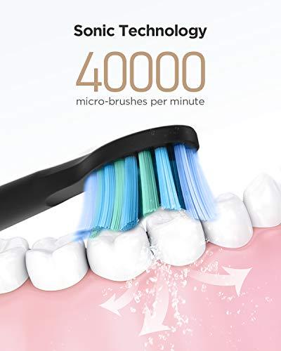 Fairywill Brosse à Dents Électrique, Brosse Dent Sonique Modèle D7, Micro-brosses 40000/min Technologie Ultrasonique…