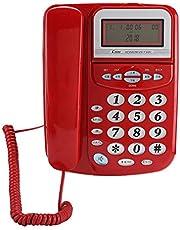 Tosuny Wired Festnetztelefon, Anrufer-ID-Telefon mit einstellbarem Bildschirm, Home Business Office Wired Festnetztelefon Unterstützung DREI Sätze von Wecker.(rot)