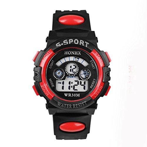 Sports Boy Digital LED Quartz Alarm Date Wrist Watch Waterproof Red - 9