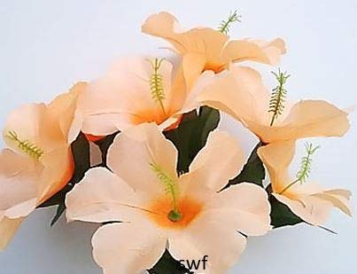 12-Hibiscus-Bush-Artificial-Silk-Wedding-Bouquet-Craft-Flowers-Home-Party-Decor-7-Stems-Peach