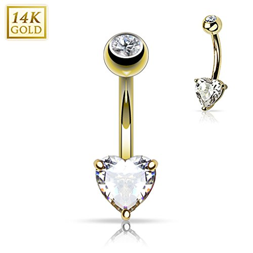 Blue Palm Jewelry - Belly Rings 14 Gauge 3/8 Inch Heart CZ Prong Set CZ 14 Karat Solid Yellow Gold Navel Ring B574