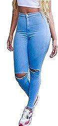 Women Faded Denim Skinny Pants Stretch Jeans Slim Pencil Trousers (L)