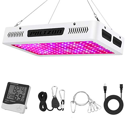 Phlizon Newest 1500W High Power Series Plant LED Grow Light,with Thermometer Humidity Monitor,with Adjustable Rope,Double Chips Full Spectrum Grow Lamp for Indoor Plant