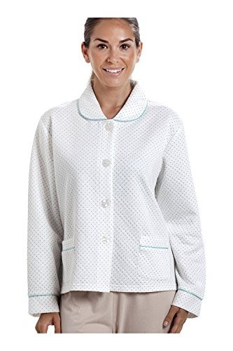 Camille Womens White Bed Jacket with a Blue Dot Print 14/16 (Down Bed Jacket)