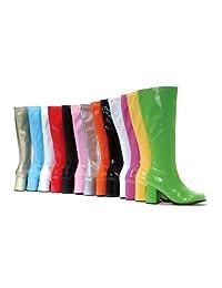 "Sunny&Baby Women's Cloesd Toe Round Shoes 3"" Heelheight Chunky Heel Inner Zipper Knee High Gogo Boots for Ladies Comfort Upper"