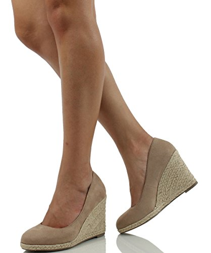 Delicioso Para Mujer Parma Ronda Toe Espadrille Wedge Slip On Sandals Oat