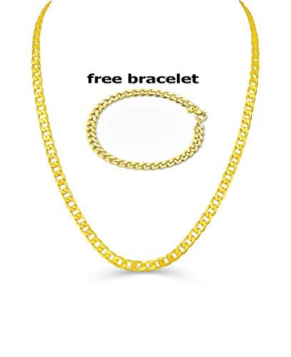 BLING CULTURE Life Time Warranty 8mm Gold Figaro Chain Necklace for Men Women Lifetime Replacement Free 4mm Bracelet (30) ()