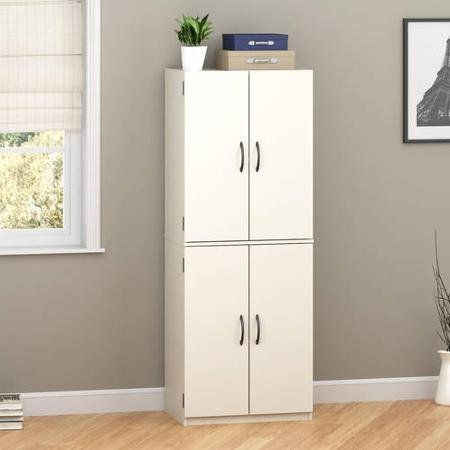 Mainstays Storage Cabinet With Two Adjustable Shelves and One Fixed Shelf, White Finishes (Kitchen Appliance Storage Cabinet)
