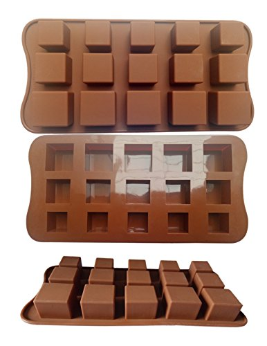 ADS Silicone Pastry Chocolate Cake Mold Baking Pan - Square - 15 Cavities - 3 Sizes