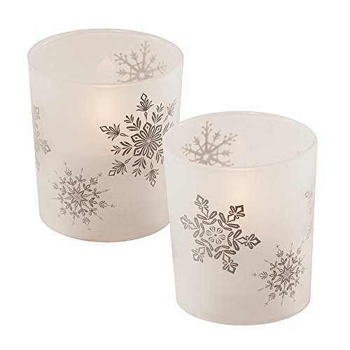 (Lumabase 93702 LED Wax Candle in Snowflake Glass (2)