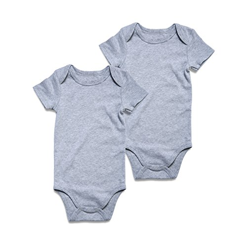 Baby 2-Pack Girls Boys Bodysuit Short-Sleeve Striped or Solid Onesie for Infant 0-24 months