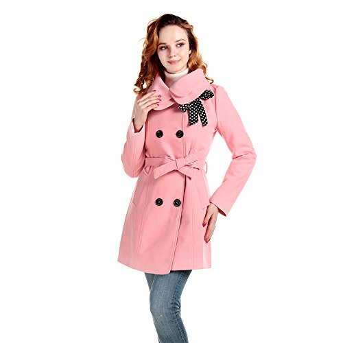 Lanhuacao Women Wool Blends Coat Slim Trench Winter Coat Long Jacket Outwear Pink L (Pink Coat)