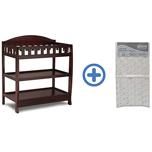 Great Features Of Delta Children Infant Changing Table with Pad, Espresso Cherry and Waterproof Baby...