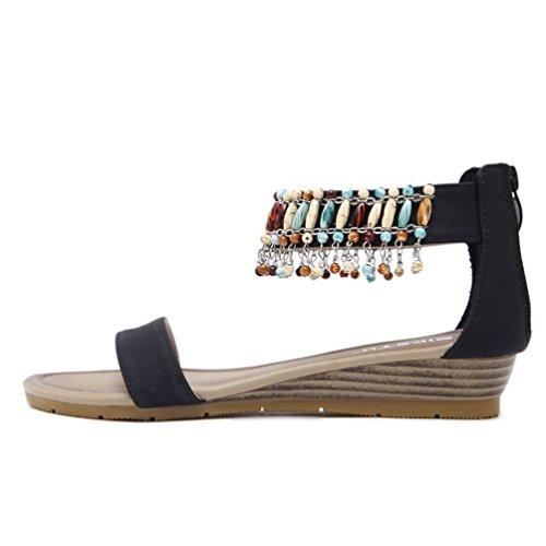 JRenok Femme Sandales Plateformes Antidérapantes Chaussures Clip Toe Sandale de Plage Élégant Chaussures Romaines Confortable 35-42 Noir yhLWQ6kxa