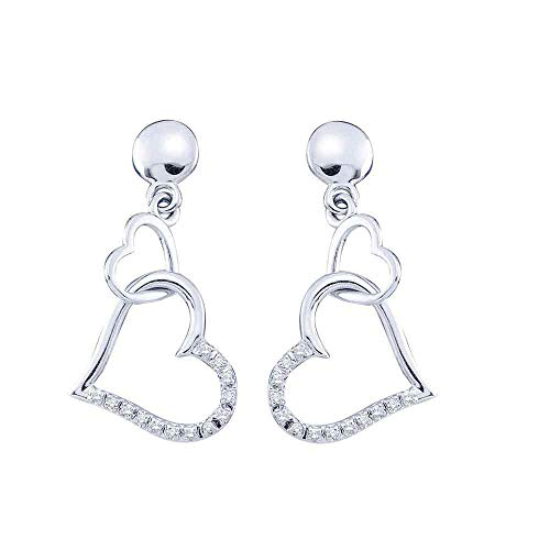 10kt White Gold Womens Round Diamond Linked Hearts Dangle Screwback Earrings 1/10 Cttw