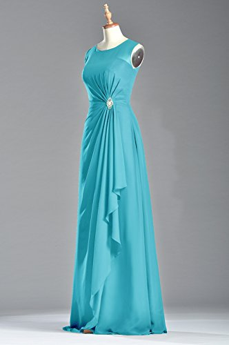 Sheath Dress Cyan Natrual Straps Adorona Bateau Chiffon Long Sleeveless Women's zERw8Y