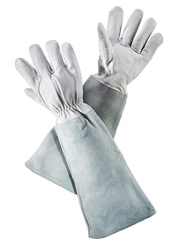 Rose Pruning Gloves (Medium) for Women and Men, Thorn and Cut Proof Goatskin Leather Gardening Glove with Long Cowhide Gauntlet to Protect Your Arms - Ationgle