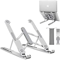 JL Comfurni Laptop Stand Foldable Holder, 7-Height Adjustable Portable Ventilated Riser Holder, Compatible with Up to 17…