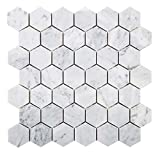 Diflart Italian White Carrara Marble Mosaic Tile Polished, 5 sheets/box (2'' Hexagon)