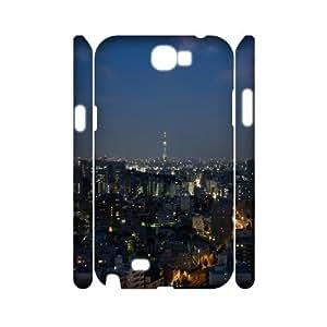 3D Samsung Galaxy Note 2 Case, Cheap Cute tokyo night Case For Samsung Galaxy Note 2 {White}