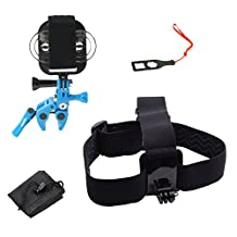 Action Mount - GoPro Style Sportsman's Mount & Head Mount Combo Set for Smartphone: Clamp Attaches to Rod, Bow, Shotgun, Rifle, Paintball and More. Use Any Phone. Strong Hold. (Blue)