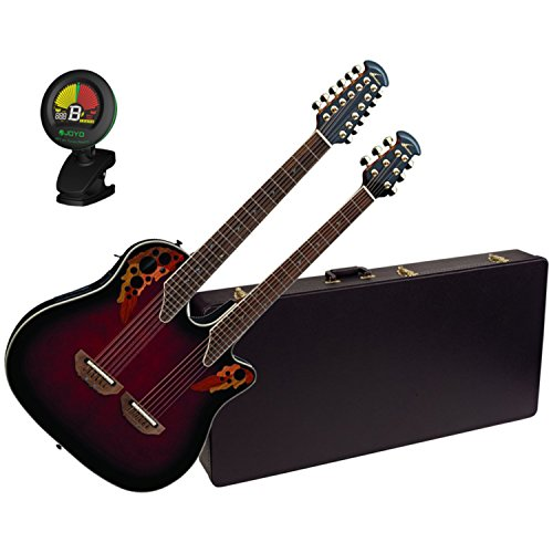 Ovation CSE225-RRB Double Neck Celebrity Ruby Red Acoustic Guitar w/Case and (Celebrity 12 String)