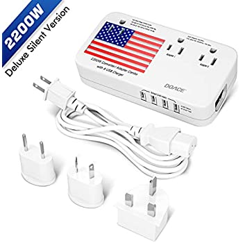 Amazon Com Pure Silent Version Doace 2200w Voltage Converter And Adapter With 4 Port Usb Step