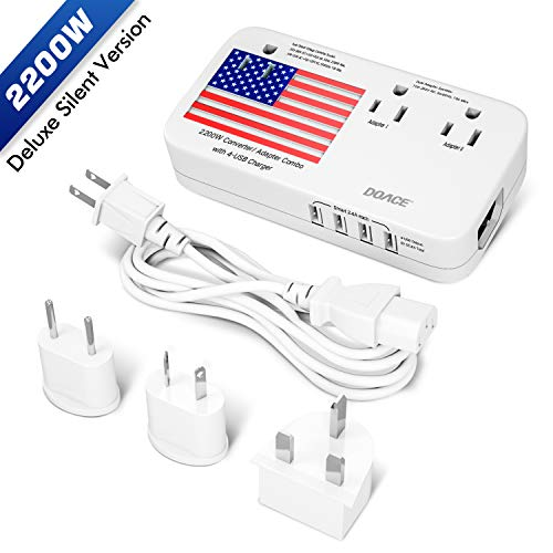 (Pure Silent Version) DOACE 2200W Voltage Converter and Adapter with 4-Port USB,Step Down 220V to 110V for Hair Dryer etc, Universal US/UK/EU/AU Plug for International Travel