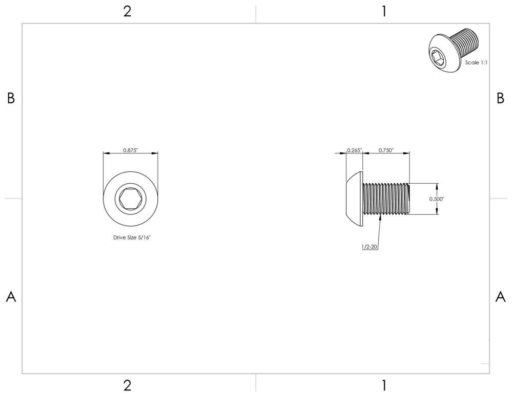 12-28 x 3//4 Button Head Socket Cap Screws Black Oxide Alloy Steel Qty 100