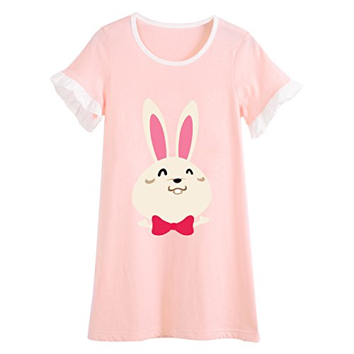 Allmeingeld Girls Bunny Nightgowns Rabbit Sleep Shirts Lace Sleepwear for 3-10 Years