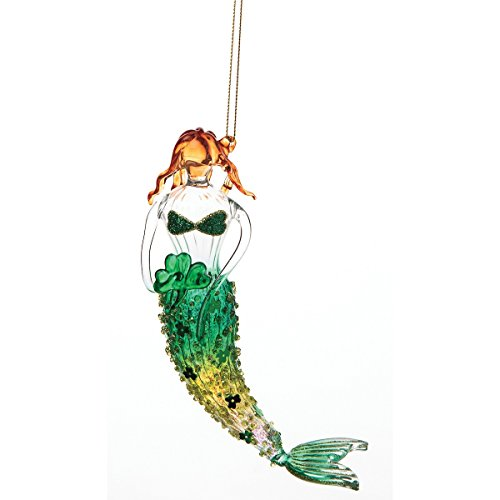 (GALLERIE II Shamrock Clover Irish St. Patrick's Day Mermaid Coastal Tropical Beach Christmas Xmas Art Glass Hanging Ornament Ornament Shamrock Mermaid)